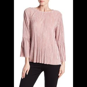 Vince Camuto Bell-Sleeve Pleated Pink Blouse